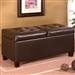 Dark Brown Vinyl Storage Ottoman by Coaster - 501039
