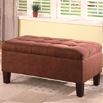 Chocolate Microfiber Storage Ottoman by Coaster - 501040