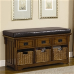 42 Inch Storage Bench in Medium Brown Finish by Coaster - 501061