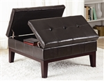 Dark Brown Vinyl Upholstered Storage Ottoman by Coaster - 501070