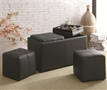Multi-Purpose Black Leather Like Vinyl Storage Ottoman by Coaster - 501080