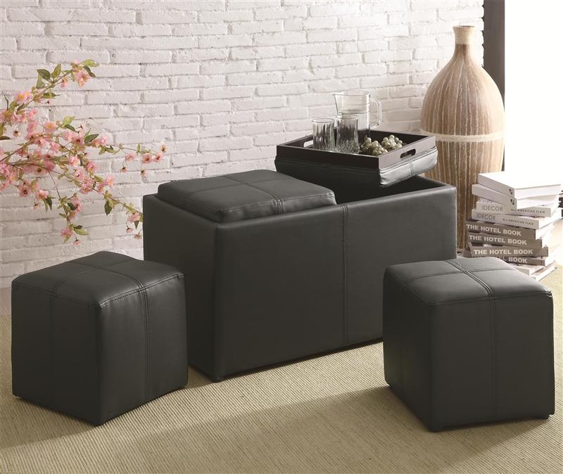 Multi purpose black leather like vinyl storage ottoman by