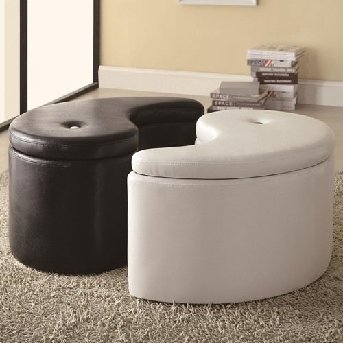 YingYang BlackWhite Storage Ottoman by Coaster501104