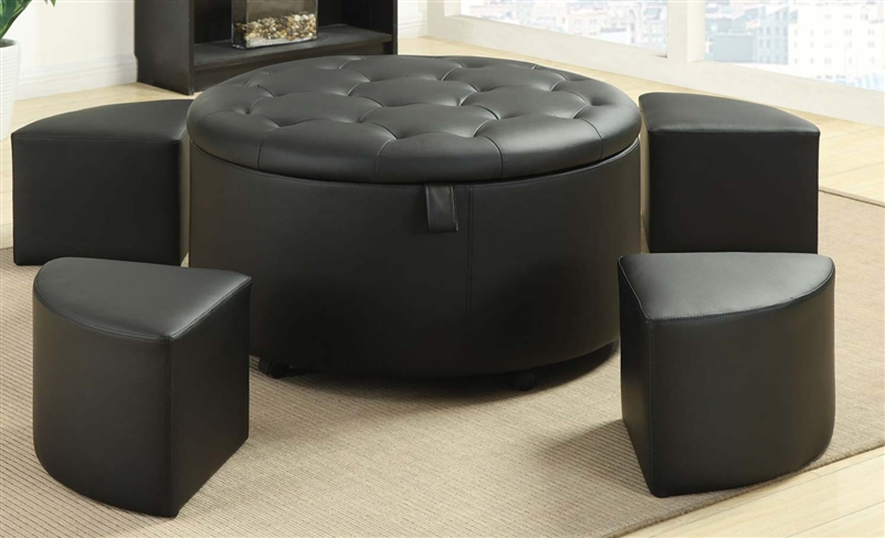 5 Piece Storage Ottoman in Black Leather Like Upholstery by Coaster - 501105 - 5 Piece Storage Ottoman In Black Leather Like Upholstery By