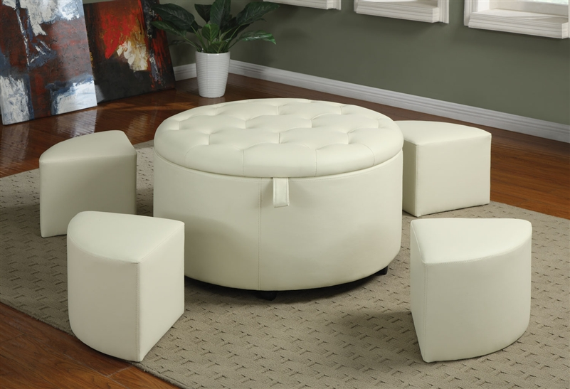 Exceptional 5 Piece Storage Ottoman In Cream Leather Like Upholstery By Coaster   501107