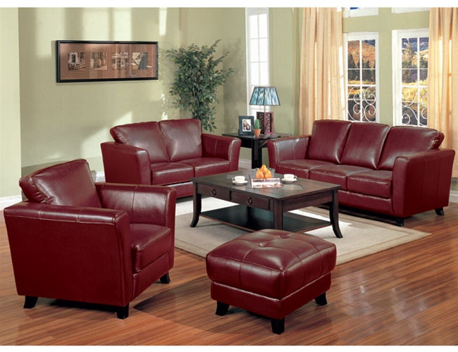 Brady red brown leather living room set by coaster 501241 - Red leather living room furniture set ...