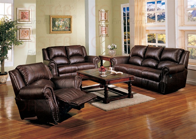 Merveilleux Brown Leather Match Chadwick 2 Piece Double Reclining Sofa Set By Coaster    501341S