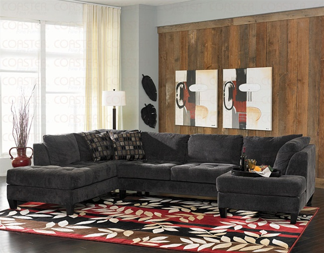 Hugh Left Laf Large Chaise 3 Piece Sectional In Thick