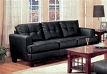 Samuel 100% Black Leather Sofa by Coaster - 501681