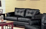 Samuel 100% Black Leather Loveseat by Coaster - 501682