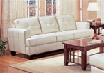 Samuel 100% Cream Bonded Leather Sofa by Coaster - 501691