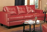 Samuel Red Leather Sofa by Coaster - 501831
