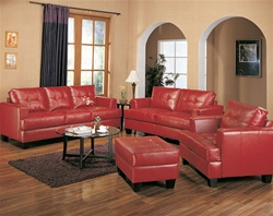 2 Piece Samuel Red Leather Sofa Set by Coaster - 501831SL