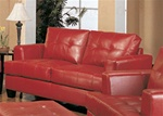 Samuel Red Leather Love Seat by Coaster - 501832