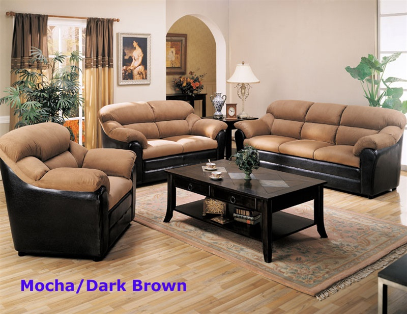 Good Taylor 2 Piece Sofa Set In Mocha Microfiber/Dark Brown Faux Leather Cover  By Coaster   501881S