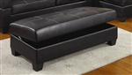 Randall Storage Ottoman in Black Leather Upholstery by Coaster - COA-501897