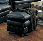 Harper Ottoman in Deep Black Bonded Leather by Coaster - 501924