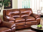 Cole Love Seat in 100% Brown Leather by Coaster - 502052
