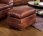 Cole Ottoman in 100% Brown Leather by Coaster - 502054