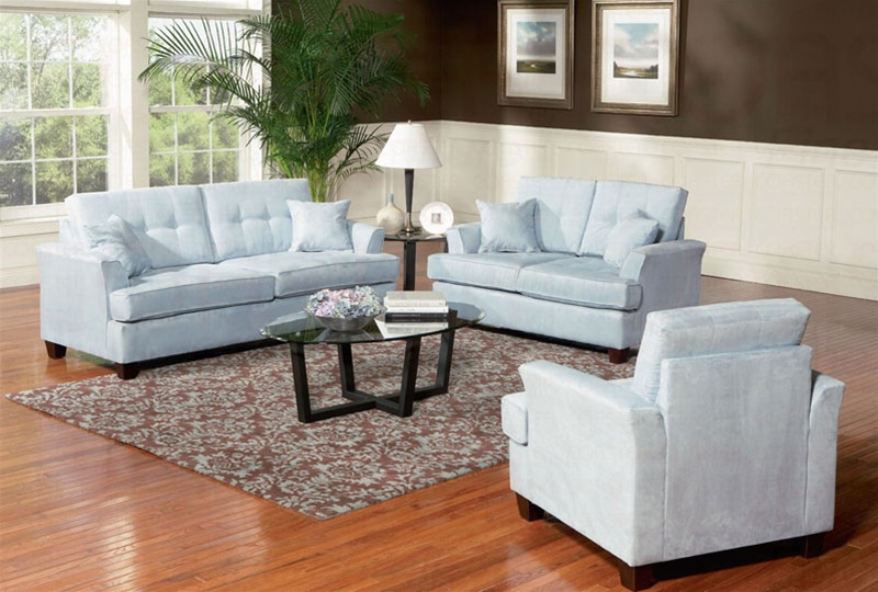 murray 2 piece sofa set in sky blue fabric by coaster 502131s - Blue Living Room Set