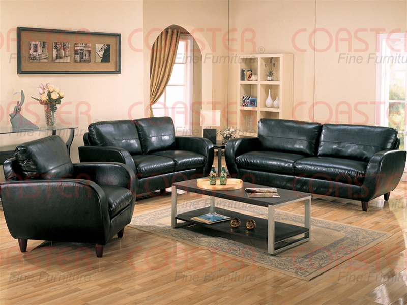 Piven 2 piece living room set in black bonded leather upholstery by coaster 502351s 2 piece leather living room set