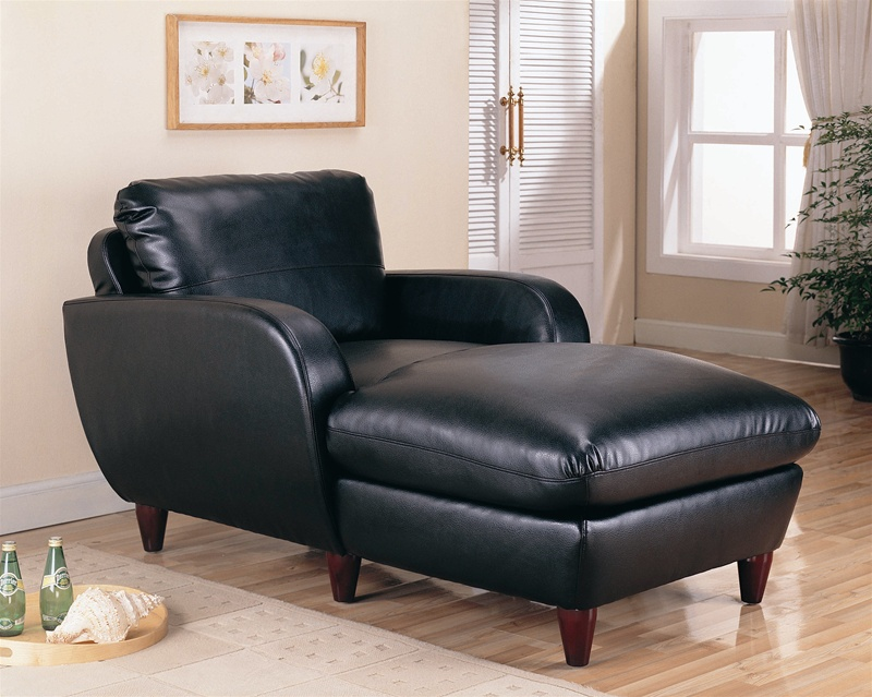 Piven chaise in black bonded leather upholstery by coaster for Bonded leather chaise