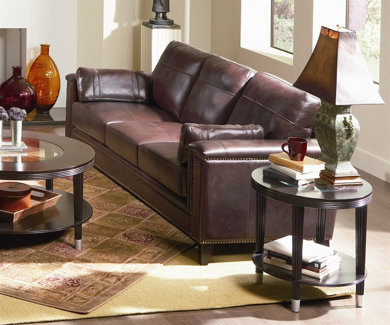 Italian Leather Sofa By Cake: Gallagher Sofa In 100% Top Grain Brown Leather By Coaster