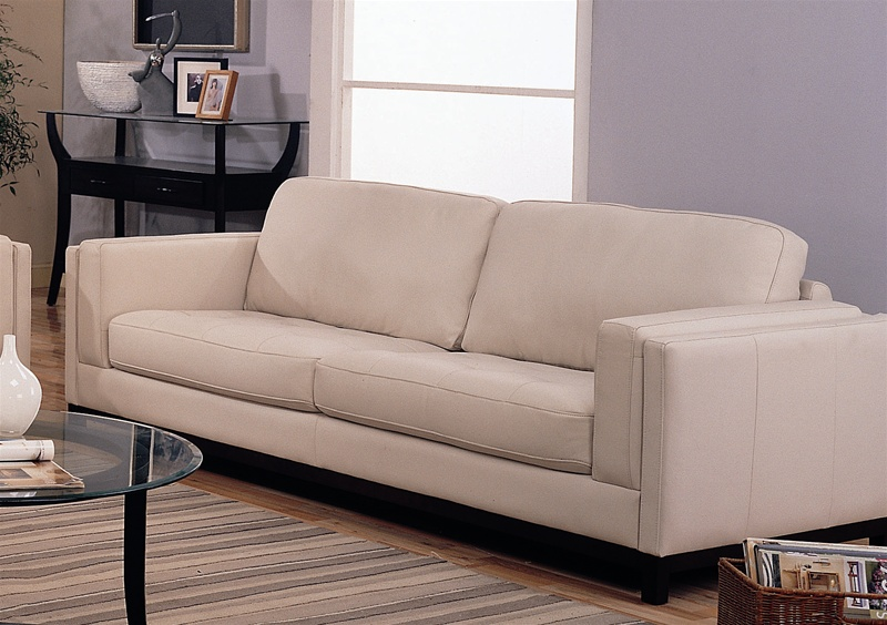 Ledersofa creme  Sofa in Creme Color 100% Leather Cover by Coaster - 502461