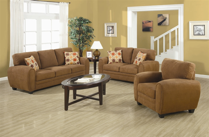 Sibley 2 Piece Sofa Set In Coffee Twill Upholstery By Coaster 502971 S