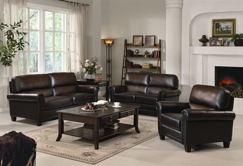 Dublin 2 Piece Sofa Set In Rich Brown Leater Upholstery By