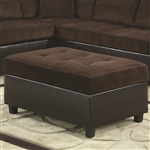 Henri Storage Ottoman in Two Tone Chocolate Corduroy by Coaster - 503014