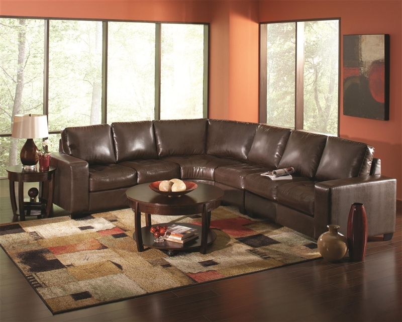 howard dark brown leather sectional by coaster 503441