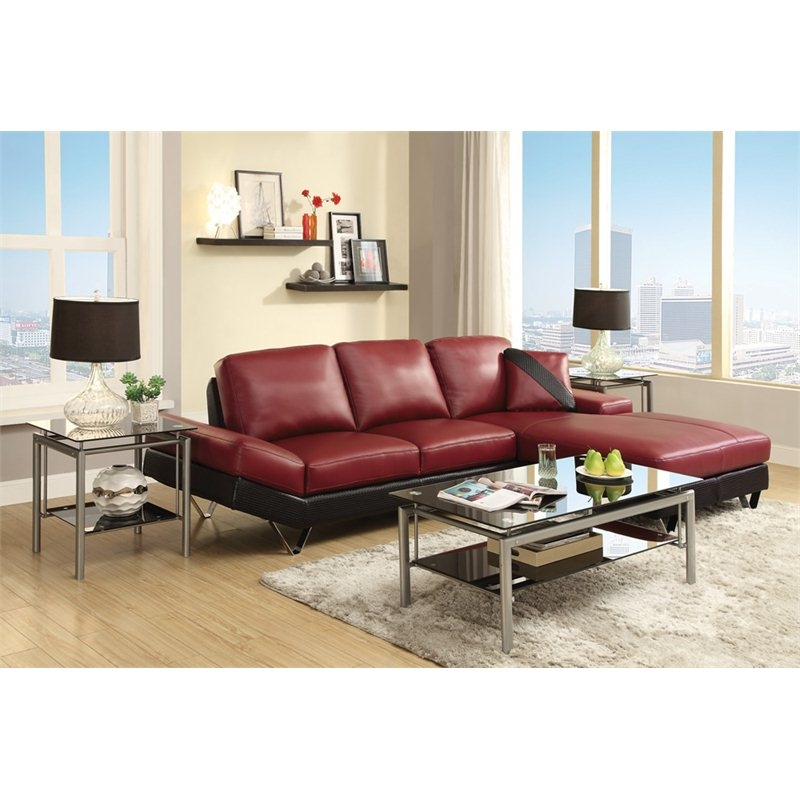 viceroy black and red leather sectional by coaster 503491