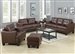 Samuel 2 Pc Sofa Set in Dark Brown Leather by Coaster - 504071-S