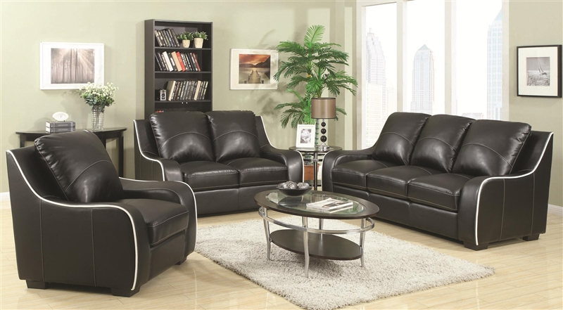 Myles 2 piece living room set in black leather by coaster 504221 s 2 piece leather living room set