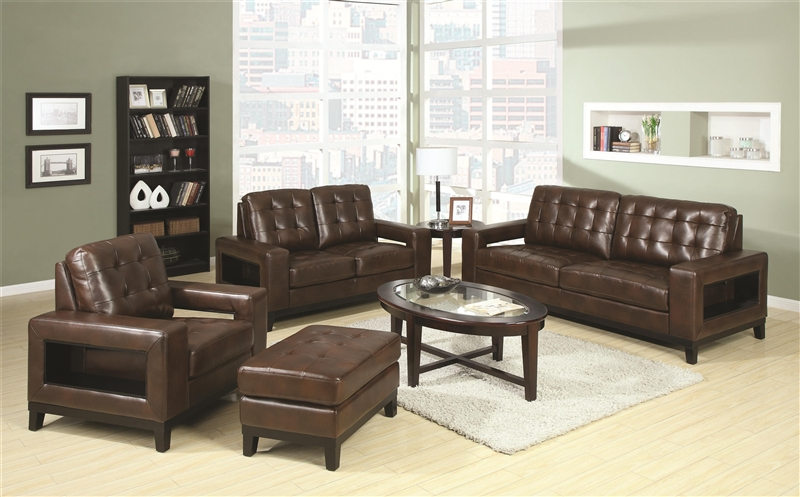 Paige 2 piece living room set in brown leather by coaster 504431 s 2 piece leather living room set