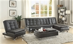 Erickson Sofa Bed in Black Leatherette Upholstery by Coaster - 508061