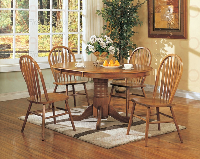 Nostalgia 5 Piece 48 Inch Round Oval Dining Set With Arrow Back Windsor Chairs In Light Oak