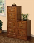 2 Piece 6 Drawer File Cabinet in Oak Finish by Coaster - 5317NS