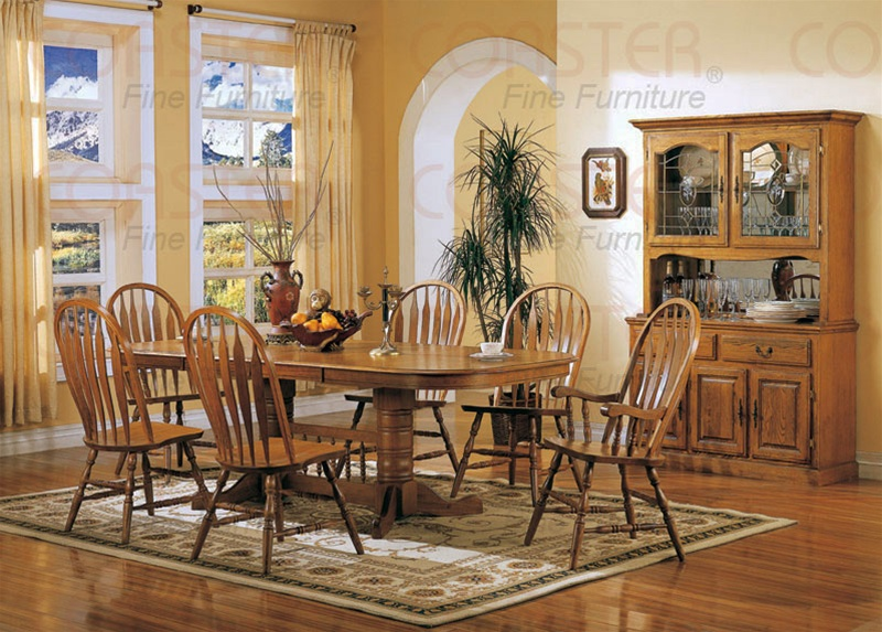 High Quality Nostalgia 7 Piece Double Trestle Dining Set With Windsor Chairs In Light  Oak Finish By Coaster   5396NN