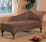 Milk Chocolate Brown Microfiber Chaise Lounge with Flip Open Seat by Coaster - 550068