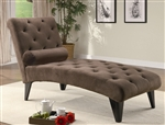 Chocolate Velour Accent Chaise by Coaster - 550069