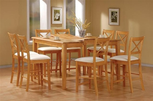Maple Finish Counter Height 9 Piece Dining Set With Butterfly Leaf By Coaster