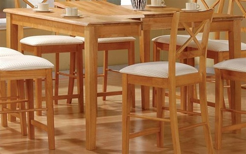 maple finish counter height 9 piece dining set with butterfly leaf by