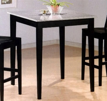 Charming Black Finish Granite Top Counter Height 3 Piece Bar Table Set By Coaster    5868