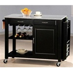 Black Kitchen Island with Granite Top and Wheels by Coaster - 5870