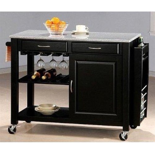 Black Kitchen Island With Granite Top And Wheels By Coaster 5870