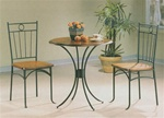 Warm Wood/Dark Metal Finish Round Top 3 Piece Bistro Dining Set by Coaster - 5939