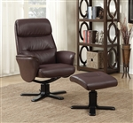 Brown Glider Recliner Chair with Matching Ottoman by Coaster - 600057