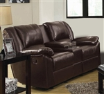 Bekah Brown Leather Gliding Loveseat by Coaster - 600060L